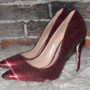 ALDO Super High Ruby RED Sequin Sexy High Heels 7
